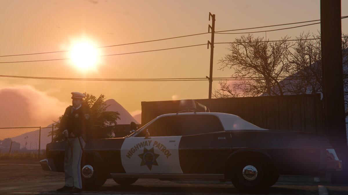 Sunny cop car